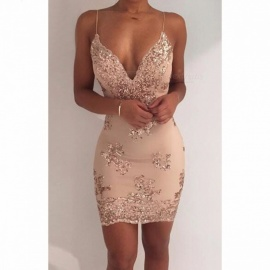 New Sexy V-Neck Backless Women's Sequins Dress, Luxury Mini One-Piece Sequined Sundress for Party Club Wear  XL/Gold