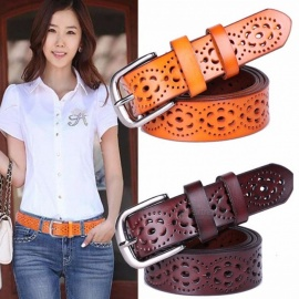 New Women Fashion Premium Genuine Leather Wide Belt without Drilling, Luxury Female Jeans Belt Strap Ceinture 115cm/Coffee