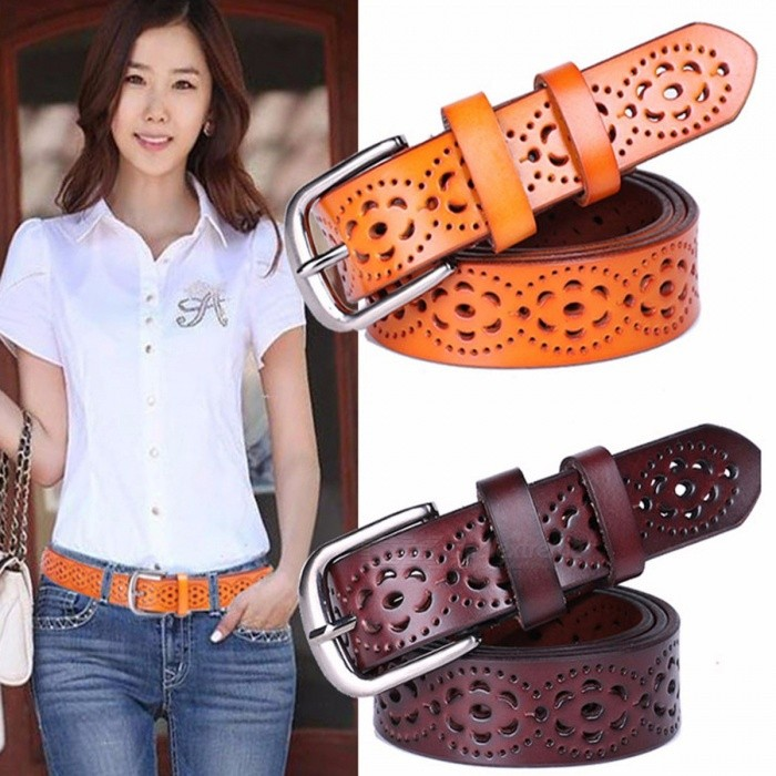 New Women Fashion Premium Genuine Leather Wide Belt without Drilling, Luxury Female Jeans Belt Strap Ceinture