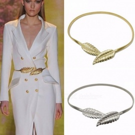 Leaf Shape Metal Elastic Wedding Belt for Women Girl, Female Stretch Skinny Waist Belt Cummerbund Waistband 70cm/Gold