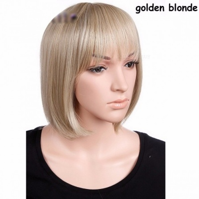 S-noilite Premium Women's BOB Style Full Head Short Straight Wig, Heat Resistant Synthetic Real Thick Hair 12inches/Blonde