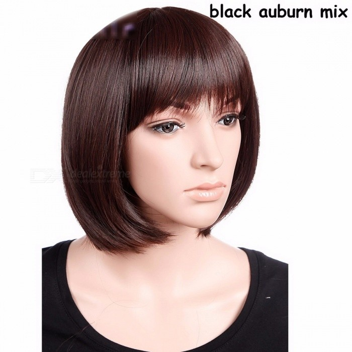 S-noilite Premium Women's BOB Style Full Head Short Straight Wig, Heat Resistant Synthetic Real Thick Hair