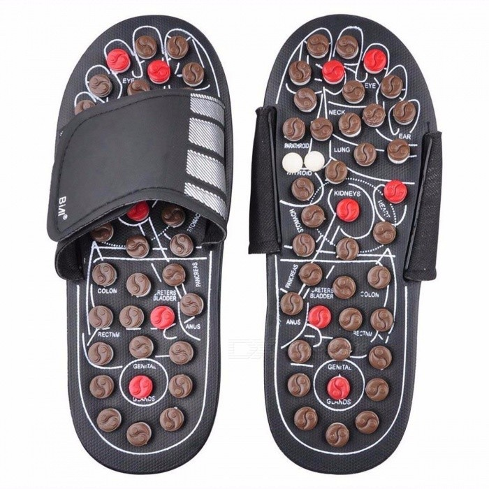 Feet Massage Reflexology Reflex Slipper Sandal, Rest Pebble Stone Acupuncture Foot Healthy Massager Shoes 42 43/white