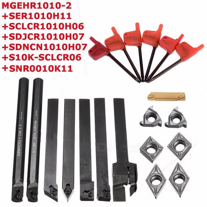 7Pcs DCMT / CCMT Carbide Inserts + 7Pcs Tool Holder Boring Bar with 7Pcs Wrenches for Lathe Turning Tool