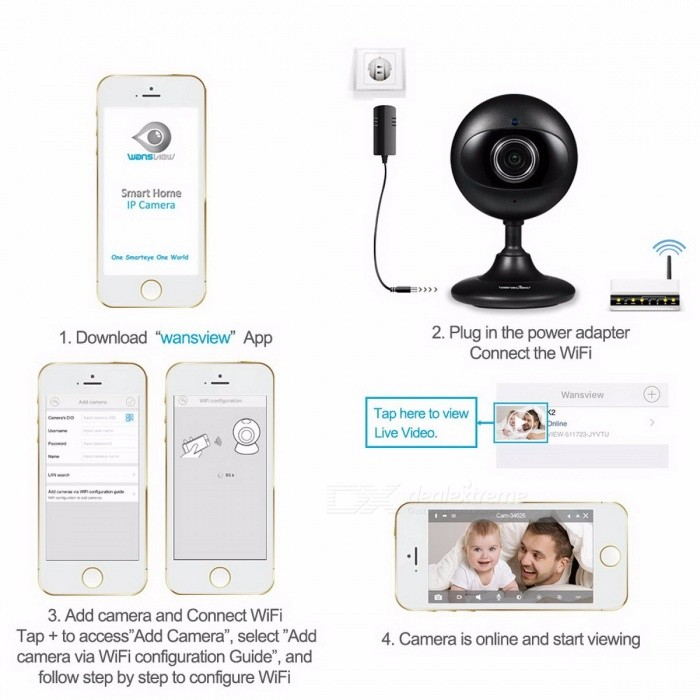 Wansview K2 Mini HD Indoor IP Camera, Home Security Surveillance Wi-Fi Wireless Baby Monitor w/ Two-Way Audio, Night Vision