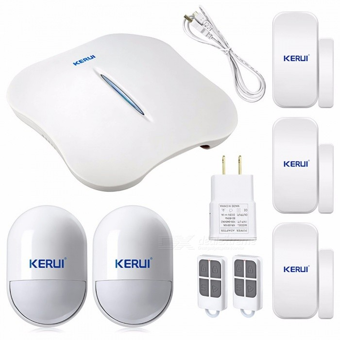 KERUI W1 Convenient Portable Wi-Fi PSTN Home Burglar Alarm System with Great Design for a Better Safety Life - KIT5Alarm Systems<br>ModelW1MaterialW1Quantity1 DX.PCM.Model.AttributeModel.UnitPower AdaptorYesBattery included or notYesMobile Phone PlatformNo,AndroidColorKIT5Packing List1*W1 Alarm unit2*KR-P819 PIR detector3*KR-D025 door sensor2*RC531 remote1*adapter(US/UK/EU/AU available)1*Cable1*user manual<br>