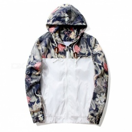 Grandwish Floral Zipper Bomber Jacket, Men's Hip Hop Slim Fit Flower Pilot Bomber Hooded Jacket Coat  XL/White
