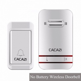 CACAZI 100-240V Wireless Doorbell No Battery LED Light Doorbell With Waterproof Push Button + 2 EU Plug Receivers UK/V027G 1-3