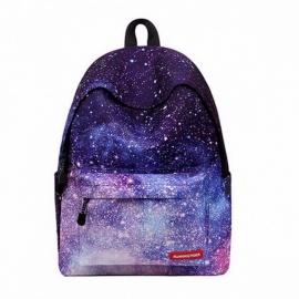 Stars Pattern School Backpack Bag for Teenage Girls, Universe Space Printing Canvas Female Backpack for College Students  starry sky