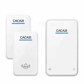 CACAZI Portable Waterproof LED AC 100-240V Wireless Doorbell Door Bell Chime w/ 300m Remote, 48 Rings, 6-Level Volume UK/BLACK 1X2