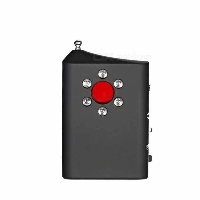 Wireless Full Range Anti-Spy Bug Detect RF Signal Detector Camera GSM Device Finder FNR Full-frequency Detector Audio Bug Finder BlackAlarm Systems<br>Description<br><br><br><br><br>Brand Name: KKMOON<br><br><br><br><br><br><br><br><br><br><br><br>This detector uses active laser scanning and passive radio frequency <br>sweep combination method, which can accurately identify eavesdropping <br>devices, telephone tapping and digital eavesdropping, tracking, vehicle <br>eavesdropping, wireless pinhole cameras, wired cameras, electrical <br>sources, so that it can effectively prevent eavesdropping, videotaping, <br>fraud, protection of personal privacy and confidential information.<br><br>Features:<br>Simple design, easy and portable to operate.<br>Multi-functional detectable pin hole camera and other wireless products.<br>Built in super bright red LED, can find out all camera, pin hole, button and mobile camera, etc.<br>Dual mode RF detectable: buzzer mode and vibrate mode; can also used earphone to detect RF signal.&amp;nbsp;<br>4 signal strength LED status indicator from low to high.<br>Adjustable sensitivity with the potentiometer.<br>Equipped with retractable antenna, also with battery indicator.<br>Built in 120mAh rechargeable li-polymer, convenient for use.<br>Perfect for sweeping cameras and bugs in conference room, changing room, hotel rooms, etc.<br><br>Specifications:<br>Plug Type: UK / AU (Optional)<br>Color: Black<br>Material: ABS<br>Wireless Signal Range: 1MHz-6.5GHz<br>Built-in Lithium Battery: 120mAh<br>Operating Current: under 100mA<br>Antenna Length: Approx. 14.5cm / 5.7in<br>Item Size: Approx. 6.5 * 4.8 * 1.5cm / 2.6 * 1.9 * 0.6in<br>Item Weight: Approx. 32g / 1.1oz<br>Package Size: Approx. 18.1 * 10.7 * 3.7cm / 7.1 * 4.2 * 1.5in<br>Package Weight: Approx. 169g / 5.96oz<br><br>Package List:<br>1 * Detector<br>1 * Power Adapter<br>1 * Earphone<br>1 * User Manual (English)<br>