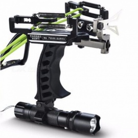 High Quality Portable Hunting Fishing Crossbow Bow Catapult, Outdoor Powerful Laser Slingshot for Shooting  Black Set A