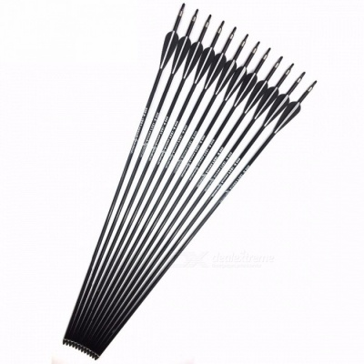 Fiberglass Arrow with Replace Arrowhead Nock Proof Spine 500 For Hunting Compound Bow /Long Bow Arrow 24PCS/Lot, 80cm Length Black and White