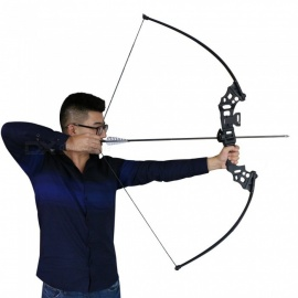 High Quality Fishing Bow Aluminum Recurve Long Bow Practice Straight Bow For Starter 40lbs Draw Weight black