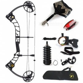 "High Quality T1 Camo Hunting Compound Bow Archery Set Adjustable 15-70lbs Draw Weight, 19-30"" Draw Length 12 blue and black"