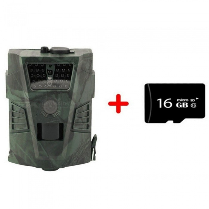 HT001 Outdoor Wildlife Hunting Camera Night Version Trail Ordinary Cameras Photo Video Traps Without LCD Wildlife Cameras 12MP  16G TF CardDescription<br><br><br><br><br>Brand Name: UnionCam<br><br><br><br><br><br><br><br><br><br><br><br><br>1.1 Application&amp;nbsp;<br><br><br>a. Instant surveillance camera for home, office, construction site, and warehouse, etc.;&amp;nbsp;<br><br><br>b. Animal observation and hunting; &amp;nbsp;<br><br><br>c. Plant observation.<br><br><br>1.2 Power Supply<br><br><br>a. AA Alkaline Batteries&amp;nbsp;<br><br><br>4PCS AA alkaline batteries.&amp;nbsp;<br><br><br>Please note that the voltage of rechargeable AA batteries (1.2V) is insufficient to power this device.&amp;nbsp;<br><br><br>b. Solar Panel<br><br><br>Original 6V lithium battery solar panels optional<br><br><br>c. Power Adapter<br><br><br>This camera can also be powered by an external 6V DC adapter.&amp;nbsp;<br><br><br>1.3 Caution<br><br><br>a. Please insert the TF-card when the camera is powered off.<br><br><br>b. Please do not insert or take out the TF-card when the camera is powered on.<br><br><br>c. Its recommended to format the TF-card by the camera when you use it at the first time.&amp;nbsp;<br><br><br>d. The camera will be in USB mode when its connected to a USB port of a<br> computer. In this case, the TF-card functions as a removable disk.&amp;nbsp;<br><br><br>e. Please ensure sufficient power when the firmware is being upgraded, <br>otherwise the upgrade process might be interrupted incorrectly. If any <br>fault occurs after improper upgrading process, the camera may stop <br>functioning properly.&amp;nbsp;<br><br><br>1.4 Key Features&amp;nbsp;<br><br><br>(1) 30PCS IR LEDs for flash range as about 20m / 65.62ft<br><br><br>(2) 12MP/8MP/5 MP resolution optional<br><br><br>(3) Color pictures during daylight; black and white at night<br><br><br>(4) Trigger time: 1.1s<br><br><br>(5) Multi-shot pictures: 1,3,6,9&amp;nbsp;<br><br><br>(6) 1/5/10/30 seconds/minutes interva