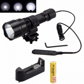 Tactical 2500lm XML T6 LED Flashlight, Hunting Light Torch with Mount + Pressure Switch + Battery + Charger Black