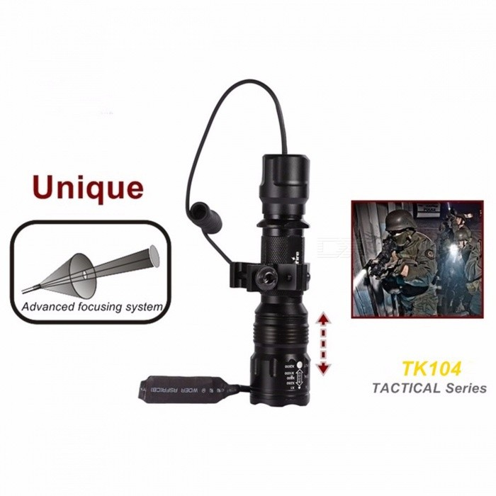 TK104 L2 Tactical Gun LED Flashlight 2200LM 5-Mode Pistol Handgun Torch Light Lamp Taschenlampe+Gun Scope Mount+Remote Switch