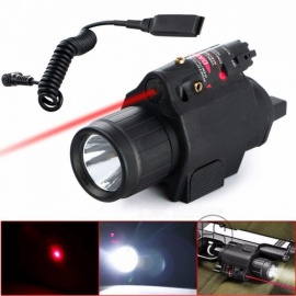 High Quality Tactical 200 Lumen Combo 2-in-1 Tactical LED Flashlight + Red Laser Sight Combo for Pistol Black