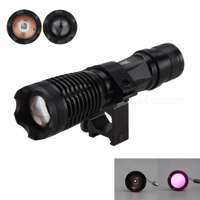 Portable Zoomable Focus 5W 850nm LED Infrared Light Flashlight, Hunting Torch with Night Vision and Mount