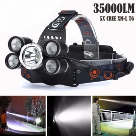 35000LM 5x CREE XM-L T6 LED Headlamp Headlight Flashlight Head Lamp, 18650 Tactical Weapon Light for Hunting Black