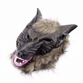 New Arrival Premium Latex Animal Wolf Head Hair Mask Hunting Decoy, Lifelike Fancy Scary Mask for Adults, Kids Brown