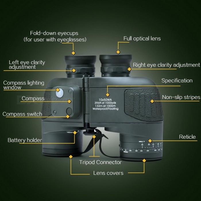 High Quality 10x50 Military Marine Tactical Waterproof Floating HD Hunting Telescope Binocular, Reticle Rangefinder