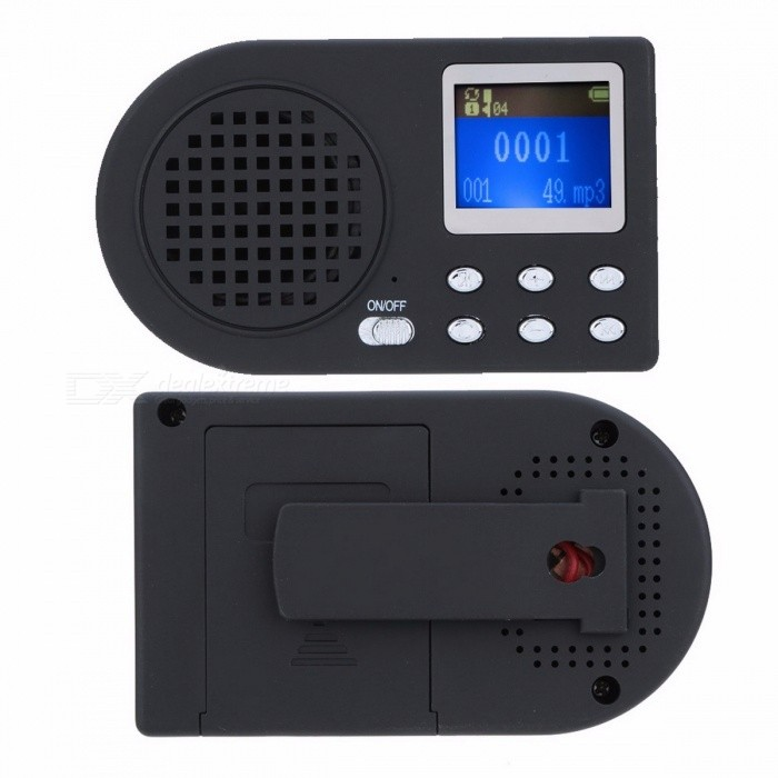 LCD Digital Bird Caller MP3 Player Hunting Decoy, Bird Sound 90dB Speaker with Wireless Remote Control blackDescription<br><br><br><br><br>Type: Other<br><br><br><br><br><br><br><br><br><br><br><br>The&amp;nbsp;Bird Caller is mainly used by downloading a variety of birds voices to play for decoy birds and hunting.<br><br>Features:<br>Download a variety of birds voices to play for decoy birds and hunting.<br>LCD display screen.<br>Built-in speaker of 10W, 90dB.<br>USB 2.0 Transfer rate.<br>Support the songs choosing tracks.<br>Support 12V power, and support 2 speakers.<br>Shell linked to a belt clip-on, easy to carry.<br>Built-in removable 1800mAH super-capacity lithium battery, can play for 15 hours or so.<br><br>Specifications:<br>Power: 1800mAH lithium battery<br>Frequency respond: 20Hz - 20KHz<br>Music format: MP3 / WMA<br>Temperature: -5? - +40?<br>Host size: 10 * 6 * 2.3cm / 3.9 * 2.4 * 0.9in<br>Host weight: 65g / 2.3oz<br>Remote control size: 9.5 * 3.5 * 1.5cm / 3.7 * 1.4 * 0.6in<br>Remote control weight: 26g / 0.9oz<br>Package size: 12.8 * 8.8 * 7cm / 5.0 * 3.5 * 2.8in<br>Package weight: 269g / 9.5oz<br><br>Package List:<br>1 * Bird Caller<br>1 * Remote Control<br>1 * Belt Clip<br>1 * 1800mAH Lithium Battery<br>1 * Adapter<br>1 * USB Cable<br>1 * User Manual (English)<br>