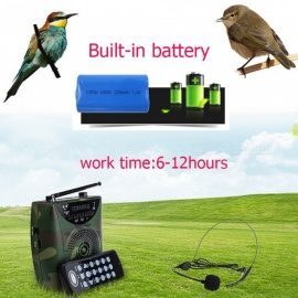 Over 800 Birds Sound 48W Wireless Remote Bird Caller MP3 Player Digital Hunting Decoy with Headset Headphone No TF Card