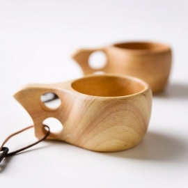 Finland Kuksa Portable Coffee Mug, Juice Milk Cup with Rubber Wooden Handle, Two-Hole Cowhide Rope Hook Wood