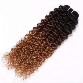 3 Tone Ombre Brazilian Hair Bundles, Kinky Curly Weave Non-Remy Human Hair Extensions with No Shedding T1B/4/30/12inches