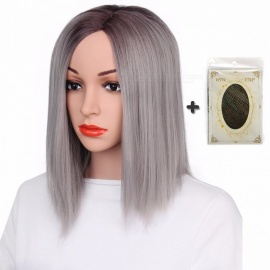 "AISI BEAUTY Premium Short Wig for Women, 12"" Synthetic Straight Ombre Blonde Purple Grey Hair for Lady Girls 12inches/P6/613"