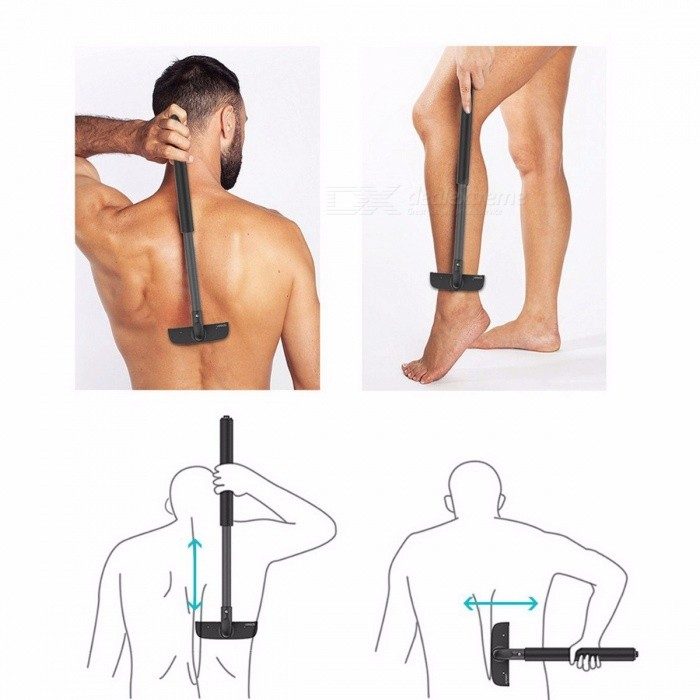 Portable High-quality Adjustable Stretchable Back Shaver for Men, Sharp Durable Back Hair Trimmer Razor