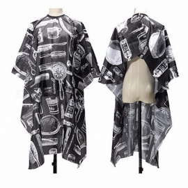 New Premium Salon Barbers Hair Cutting Hairdressing Hairdresser Polyester Cape Gown Clothes for Adults  Black + White
