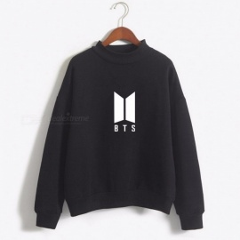 Dandeqi Kpop Premium BTS Hoodies for Women Girls, Letter Printed Fans Supportive BTS Album Long Sleeved Sweatshirt M/wine
