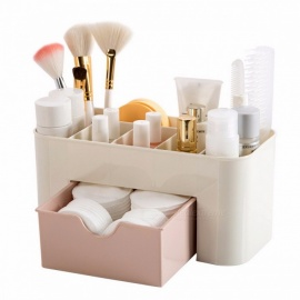 Plastic Makeup Cosmetic Brush Jewelry Organizer, Office Storage Drawer Desk Makeup Case Box, Lipstick Remote Control Holder Pink
