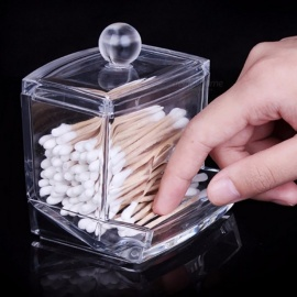 Mini Creative Transparent Acrylic Storage Holder Box, Clear Cotton Swabs Stick Cosmetic Makeup Organizer Case Clear