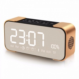 TOPROAD Portable Wireless Stereo Aluminum Parlante FM Radio Bluetooth Speaker Altavoz, Support Time Alarm Clock, TF Card,Line In Silver