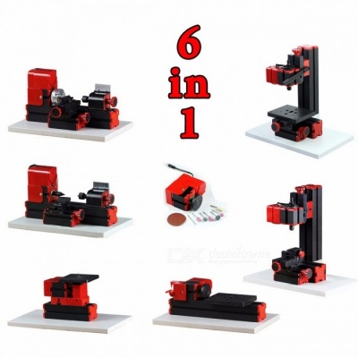 DIY Tool 6-in-1 Mini Lathe, Milling, Drilling, Wood Turning, Jag Saw and Sanding Machine, Mini Combined Machine Tool colorful