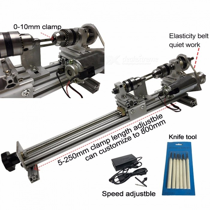 DIY Wood Lathe Mini Lathe Machine Tool Polisher Table Saw for Polishing Cutting, Metal Mini Lathe Didactical DIY Lathe silverDescription<br><br><br><br><br>Type: Horizontal<br><br><br>Brand Name: FEUNGSAKE<br><br><br><br><br>Condition: New<br><br><br>CNC or Not: Normal<br><br><br><br><br><br><br><br><br>Model Number: 250 <br><br><br>power: 90w <br><br><br>motor: 755 type <br><br><br>working detention: 5-250mm adjustable(customize 250-800mm) <br><br><br>product size: 500mm <br><br><br>working speed: about 3000r max <br><br><br>speed: 7 step adjustable <br><br><br>voltage: 110v/220v <br><br><br>code: pd218 <br><br><br>Max material clamping: 100mm diameter <br><br><br>chuck clamp size: 1-10mm adjustable <br><br><br><br><br><br><br><br>Extended size&amp;nbsp;version, voltage is&amp;nbsp;110-220V, 5-250 mm adjustable <br>discharge size of the object; 3: ultra-quiet mechanical transmission <br>version, the full length is 500 mm long, 100 mm maximum machining <br>diameter, this one with a double bearing mute 24v&amp;nbsp;90 watt motor, 3 <br>groove round belt mechanical transmission, with the 7-speed power can <br>change 21 kinds of speed, no loss of power, spindle speed can turn to <br>1500-5500r about, wide range of speed, front zipper, holes can be <br>drilled, can car, sawing, grinding, polishing, very little noise.<br><br><br>&amp;nbsp;<br><br><br>Its biggest advantage is:<br><br><br>1, 775 high torque motor via a synchronous wheel bearings 2 1: 2 <br>without power reduction drive miniature spindle torque, high strength, <br>good concentricity, far better than 775 micro-motor direct-drive simple <br>lathe miniature lathe with the six bearings .<br><br><br>&amp;nbsp;<br><br><br>2: The top end is the active slide screw through the top handle for <br>moving back and forth, with the two thrust bearing screw, turn the top <br>end of easy, reliable, great clamping force, completely solve the <br>difficult simple lathe tail top gripping objects, easy the disadvantage <br>loose and can be locked in the workpiece is rotated.<br><br><br>&amp;nbsp;<br><br><br>&amp;nbsp;<br><br><br>advice:<br><br><br>Because<br> the lathe heavy lathe reason to recommend to the board a fixed plane, <br>such as the common wood, with four screws easily fixed, so more stable.<br>