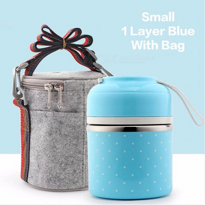 WOTHBUY Portable Cute Mini Japanese Bento Box, Leak-Proof Stainless Steel Thermal Lunch Box, Kid's Picnic Food Storage Container