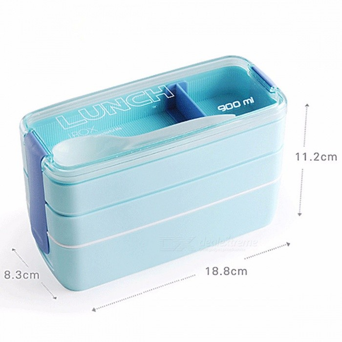 Urijk Travel Food Lunch Boxes Plastic Lunchbox Storage Food Container with  Spoon Bento Box Organizer Containers for Food Kitchen Blue