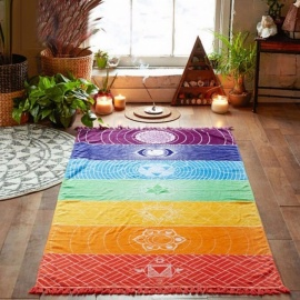 New Summer Wall Hanging Mandala Blanket Yoga Mat, Elephant Tapestry Rainbow Stripes Beach Towel for Travel Blue