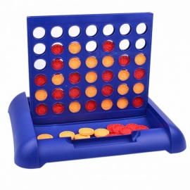 Portable Classic New Sports Entertainment Connect 4 Game, Educational Board Game Toy for Kids Children Blue