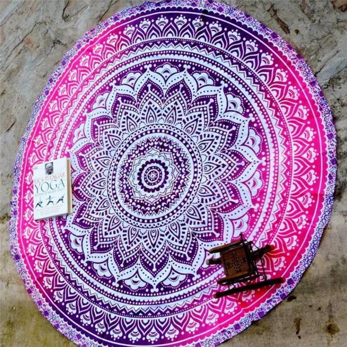 Polyester Lotus Flowers Round Yoga Blanket Mat, Breathable Mandala Wall Hanging Decor Art Picnic Beach Towel Blanket