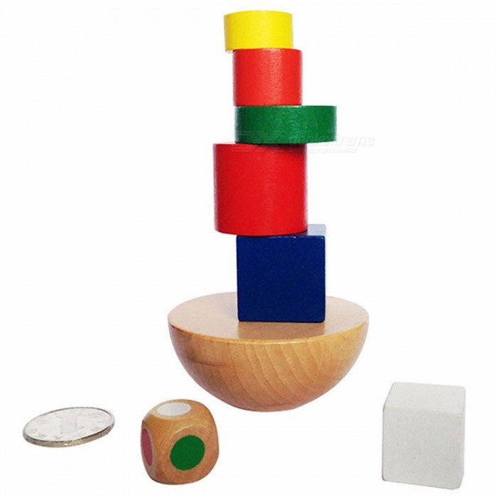 New Wooden Hemisphere Balance Stacking Game, Educational Building Block Developmental Toy for Children Kids