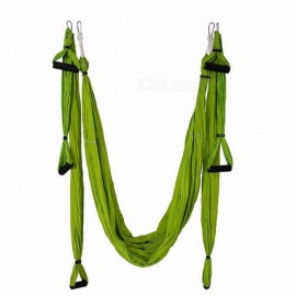 BlueSong Yoga Swing Parachute Fabric Inversion Therapy Anti-gravity High Strength Decompression Hammock for Gym Hanging Army Green