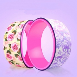 New Arrival 32cm Diameter TPE Yoga Circle Wheel, Stretch Rueda Flower Printed Yoga Ring with Load 150kg Purple