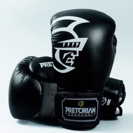 PRETORIAN Portable Universal Premium New PU Leather Muay Thai Boxing Gloves for Men Training, MMA, Kicking 10oz/Black and Red