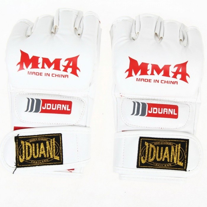 PU Leather Half Finger Fighting MMA Kick Boxing Gloves, Muay Thai Boxing Training Fitness Boxer Fight Equipment for Adults RedDescription<br><br><br><br><br>Brand Name: VKTECH<br><br><br>is_customized: Yes<br><br><br><br><br>Applicable People: Male<br><br><br>Weight: Other<br><br><br><br><br><br><br><br><br><br><br>Description:<br>1. Material: PU<br>2. Half mitts gloves, empty palm, with nice flexibilty &amp;amp; prevent sweating when train<br>3. The back of glove and Hook&amp;amp;Loop thicken foam, well protecting wrist<br>4. Designs for MMA or any boxing training<br>5. Adults type, one size fits most, adjustable<br>SizeSize: Approx. 22 X 11 X&amp;nbsp; 2.5cm (L X W X D)&amp;nbsp;<br>